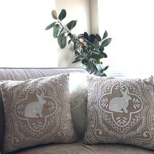 Pier 1 embroidered Easter Bunny Home decor Pillows